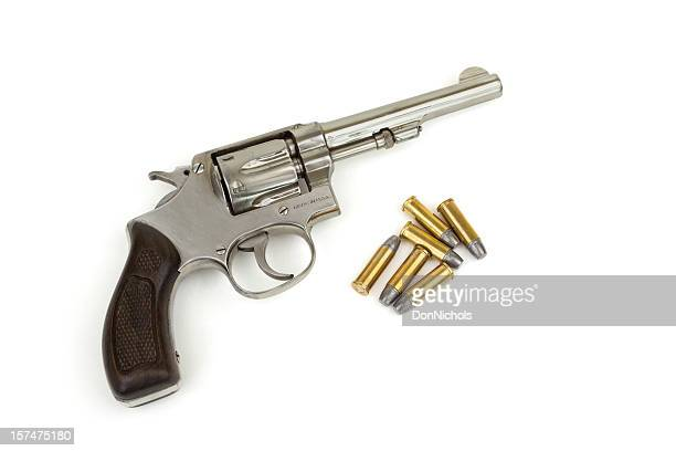 handgun and bullets - handgun stock pictures, royalty-free photos & images