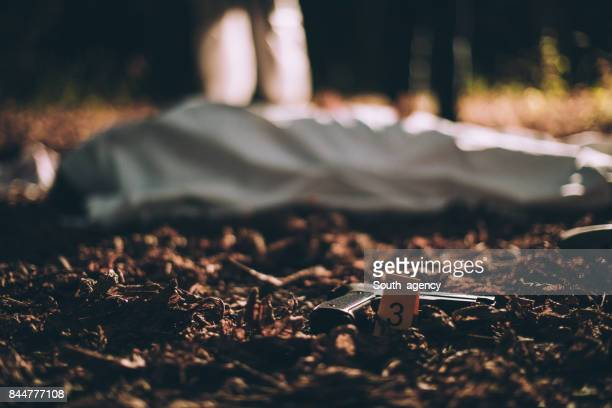 handgun on a crime scene - dead female bodies stock pictures, royalty-free photos & images