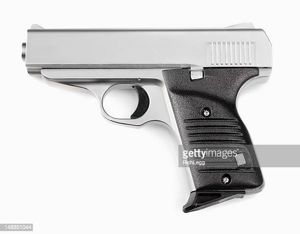 handgun on white background - machine gun stock pictures, royalty-free photos & images