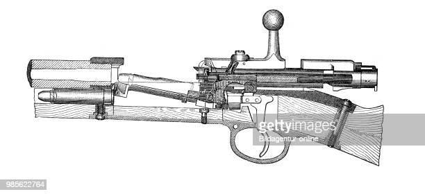German infantry rifle 7184 closed to the magazin fire Handfeuerwaffen 1895 deutsches Infanteriegewehr 7184 Schloss zum Magazinfeuer gestellt