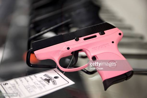 Handguns are offered for sale at Freddie Bear Sports on April 08, 2021 in Tinley Park, Illinois. President Joe Biden today announced gun control...