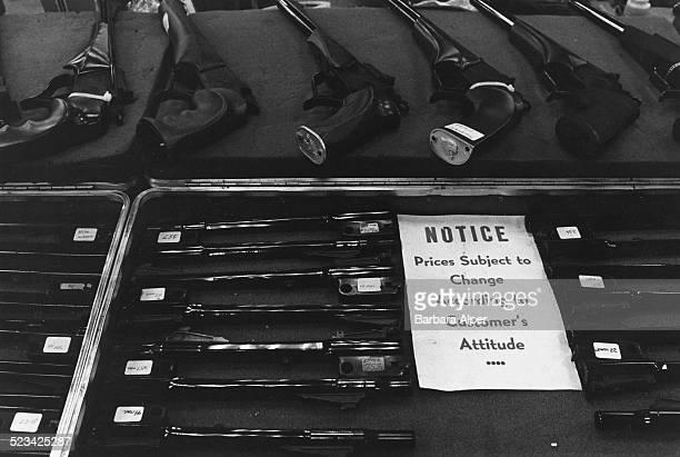 Handguns on display at the Original Fort Worth Gun Show Fort Worth Texas USA May 1987