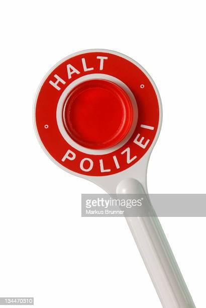 Handheld police signal, labelled Halt, Polizei, german for Stop! Police