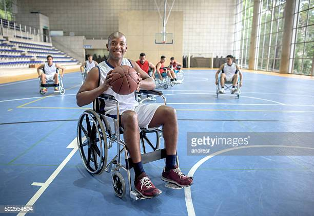 Handicap man playing basket