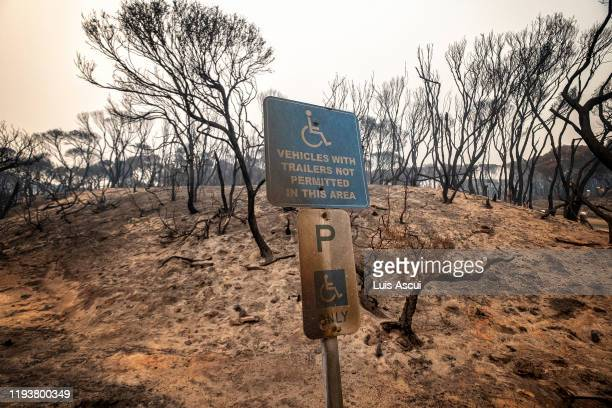 A handicap parking signed is seen at a parking lot off the coast of Mallacoota on January 15 Australia The Princes Highway between Mallacoota and...