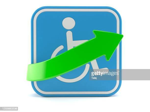 handicap symbol with green arrow isolated