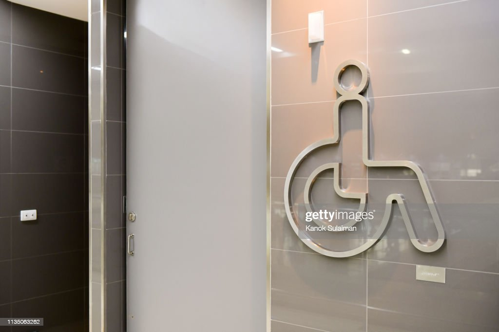 Handicap Toilet Sign High Res Stock Photo Getty Images