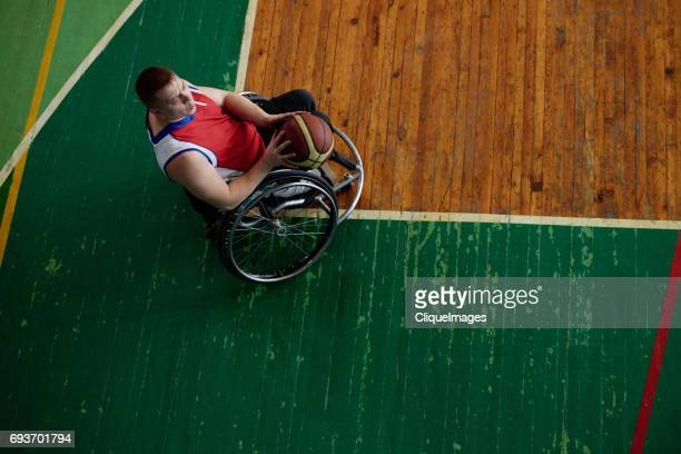 Handicapped basketball player on training