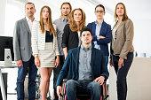 young handicapped businessman entrepreneur sitting wheelchair