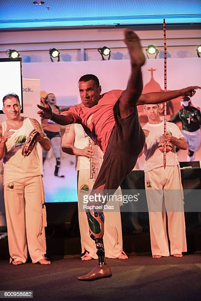 A handicapped capoeira dancer performs at a Ottobock and IPC meeting during Rio 2016 Paralympic Games on September 8 2016 in Rio de Janeiro Brazil