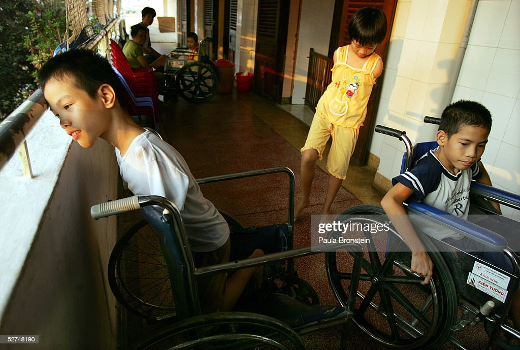 Handicapped children play outside at the Tu Du Hospital May 2, 2005 in Ho Chi Minh City, Vietnam. Many have been deformed since birth from what may be the effects of the defoliant Agent Orange used in the Vietnam War. On March 10 a U.S. Federal Court in Brooklyn, New York dismissed a law suit on behalf of millions of Vietnamese against the U.S. for its use of the toxic defoliant during the Vietnam War, which contains dioxin. In 1984, seven American chemical companies paid $180 million to settle a suit by U.S veterans affected by Agent Orange. Vietnam pledges to pursue the lawsuit and is taking the case to a US Court of Appeals in June.