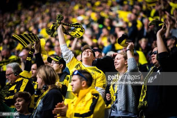 Handicapped fans of Dortmund celebrate a goal of Dortmund during the Bundesliga match between Borussia Dortmund and Werder Bremen at Signal Iduna...