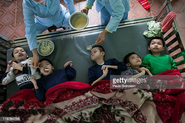 Handicapped orphans get fed by the medical staff at the Ba Vi orphanage March 15 in Ba Vi Vietnam There are around 125 children who are cared for by...