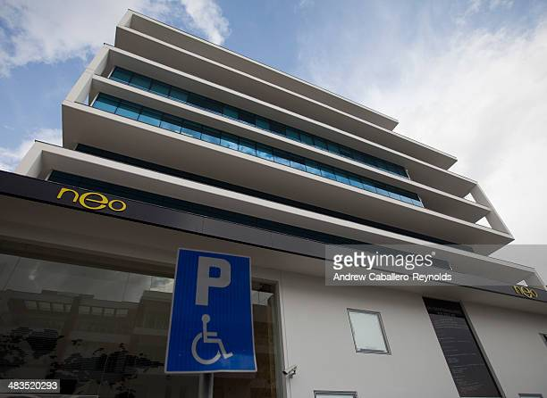 A handicapped parking sign is seen near the Neo Bee headquarters on April 9 2014 in Nicosia Cyprus Cyprus based bitcoin vendor Neo Bee is under...