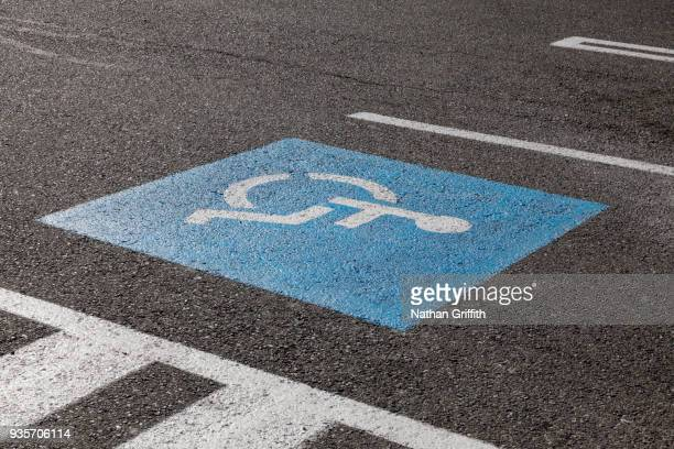 handicapped parking spot - disabled sign stock photos and pictures