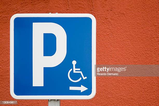 handicapped parking traffic sign - disabled sign stock photos and pictures