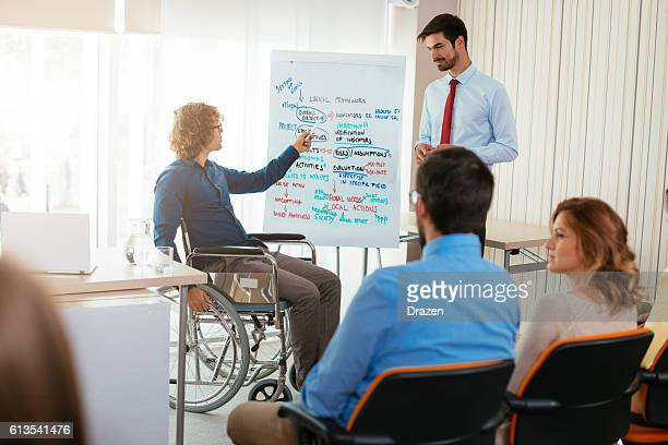 Handicapped person on training class with lecturer and students
