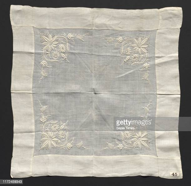 Handkerchief late 1800s England or America late 19th century Embroidery linen overall 381 x 381 cm