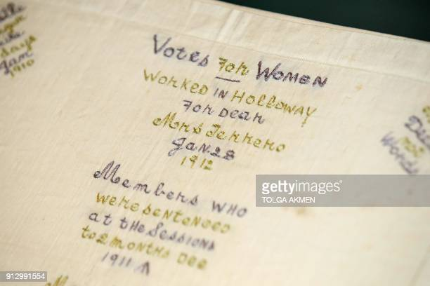 Handkerchief of signatures which was presented to suffragette Janie Terrero by imprisoned suffragette window smashers, who shared the same wing at...