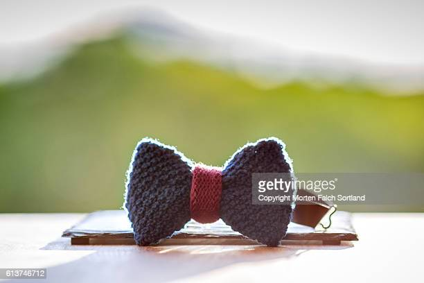 Hand-knitted bowtie