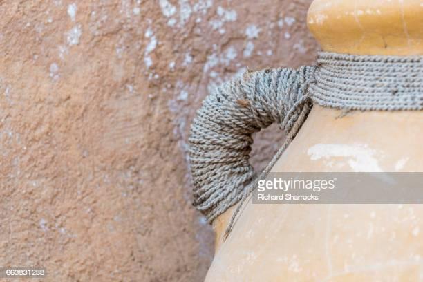 Handle of clay water storage jar