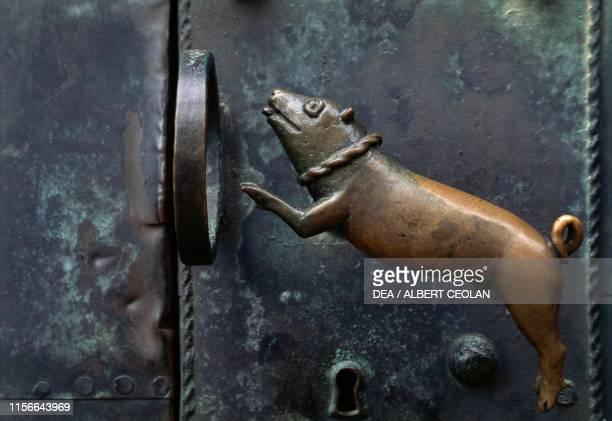 Handle with relief in the shape of a dog on the north portal of the church of St Servatius Quedlinburg SaxonyAnhalt Germany 11th12th century