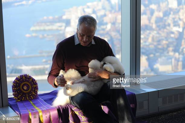Handler Bill McFadden his dog Flynn a Bichon Frise visit One World Observatory at One World Observatory on February 14 2018 in New York City