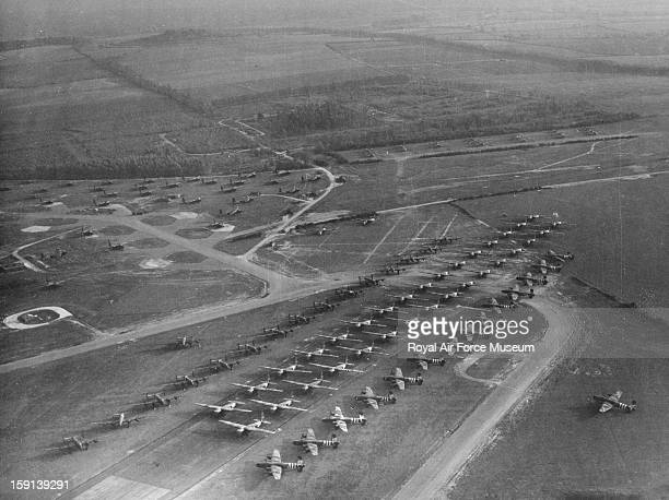 Handley Page Halifax glider tugs lined up with Hamilcar and Horsa gliders Tarrant Rushton 12 October 1944