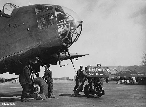 A Handley Page Hampden twinengine medium bomber of No50 Squadron Royal Air Force Bomber Command showing the nose section with the bombaimer's window...