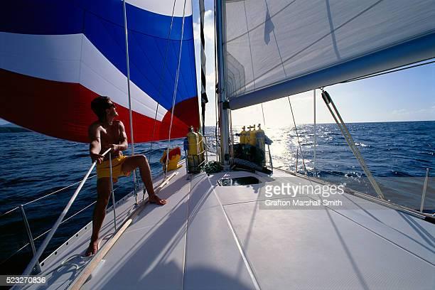 Handling Jib Boom of Sailboat