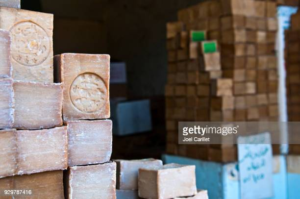 handmade aleppo soap for sale in aleppo, syria - aleppo stock pictures, royalty-free photos & images