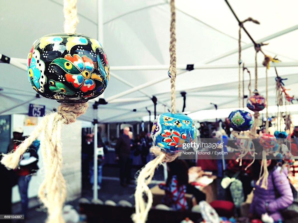 Handmade Art Hanging From Ropes In Art Exhibition : Stock Photo