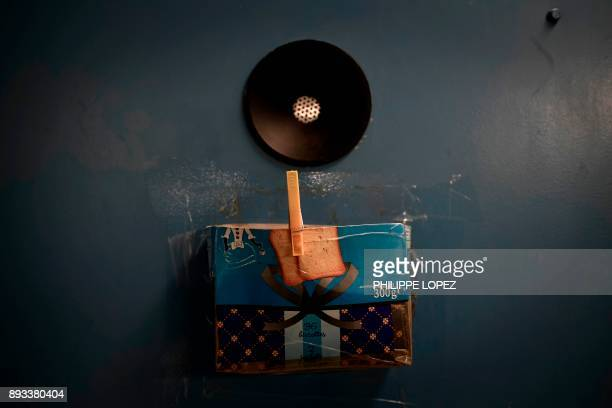 A handmade box to put the personal correspondence of the prisoners is pictured on December 14 2017 at the FleuryMerogis prison the largest prison in...