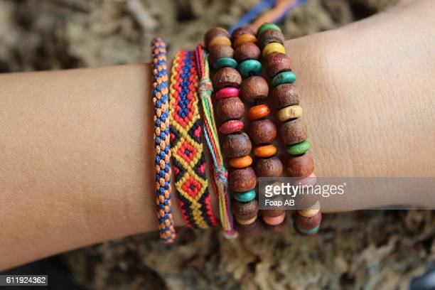 handmade bracelet on hand - bracelet stock pictures, royalty-free photos & images