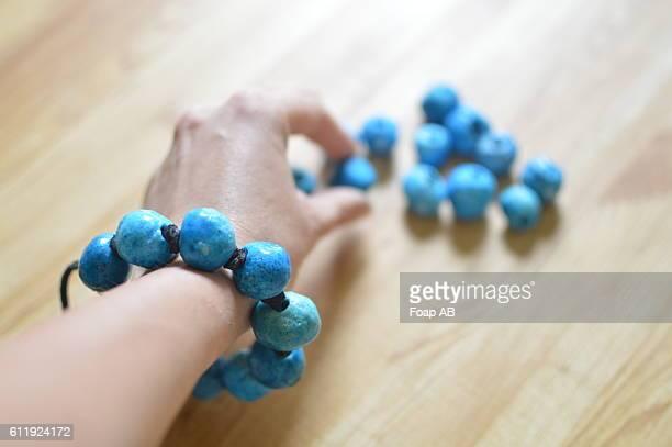 Handmade bracelet with blue stones