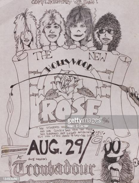 Handmade by guitarist Slash flyer for rock band 'Hollywood Rose' concert at the Troubadour on August 29 1984 in Los Angeles California