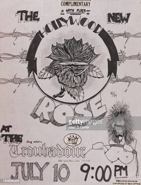 Handmade by guitarist Slash flyer for rock band 'Hollywood Rose' concert at the Troubadour on July 10 1984 in Los Angeles California