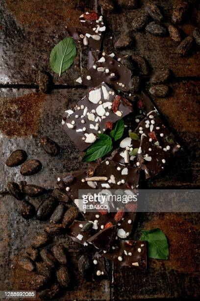 Handmade chopped dark chocolate with different superfood additives seeds and goji berries, with cocoa beans and fresh mint over dark ceramic tile...