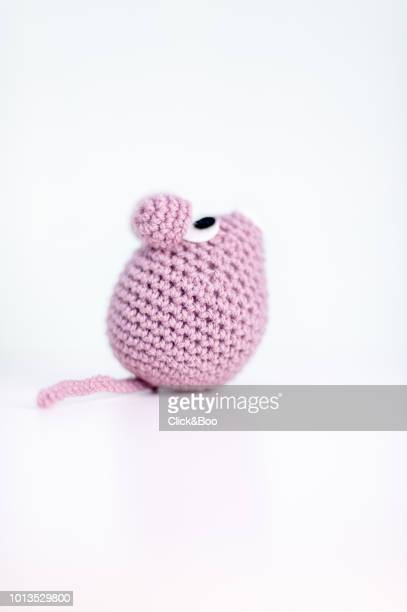 handmade crocheted mouse (amigurumi) - cute mouse stock pictures, royalty-free photos & images