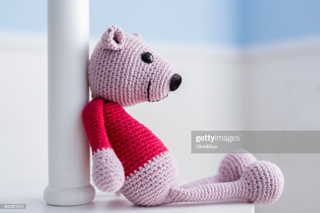 Handmade crocheted teddy bear : Stock Photo