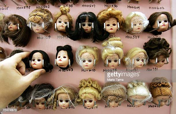 Handmade doll heads are seen on display at The Alexander Doll Company November 17 2004 in New York City The company was founded in 1923 and opened...