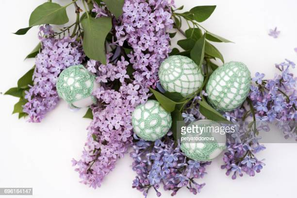 Handmade Easter eggs and Lilac flowers