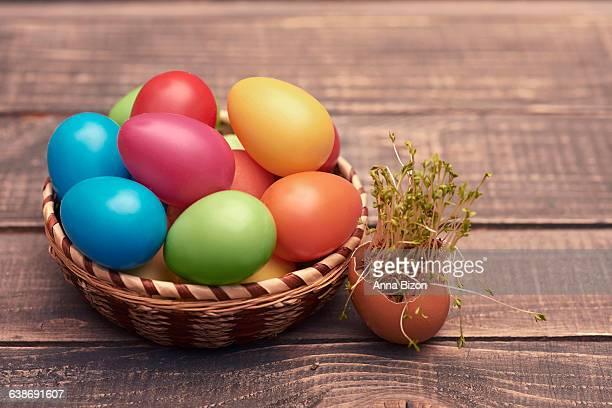 Handmade Easter eggs in the basket. Debica, Poland