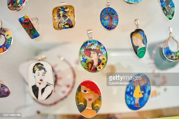 Handmade Enamel Jewellry Pendants on August 09 2018 in Tbilisi Georgia