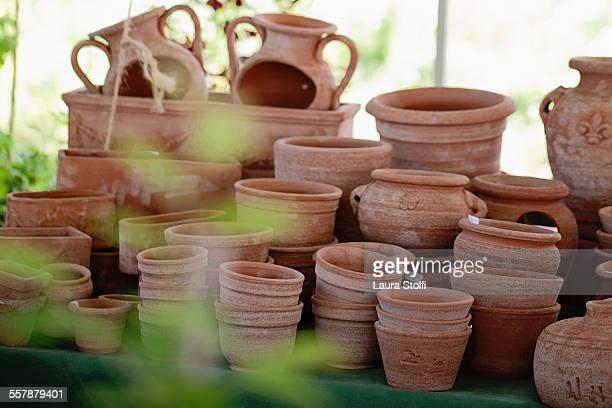 Handmade Italian clay vases at market