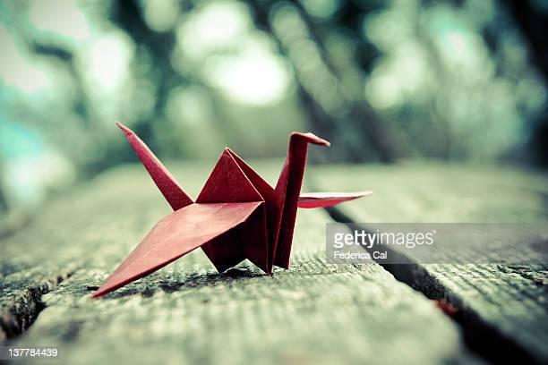 Handmade origami crane