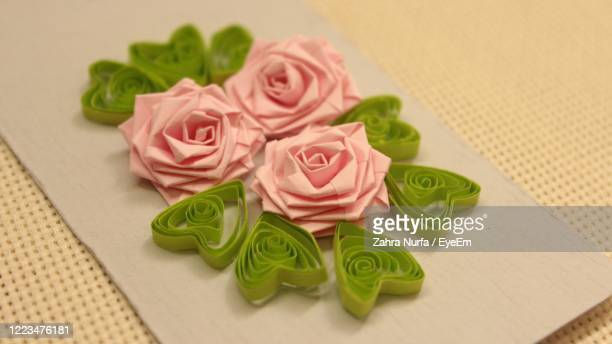 handmade paper art paper quilling rose bookmark - central kalimantan stock pictures, royalty-free photos & images