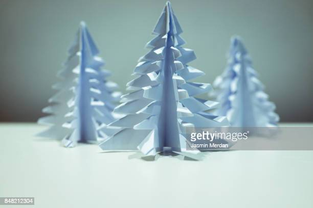 Handmade paper fir tree for New Year holidays