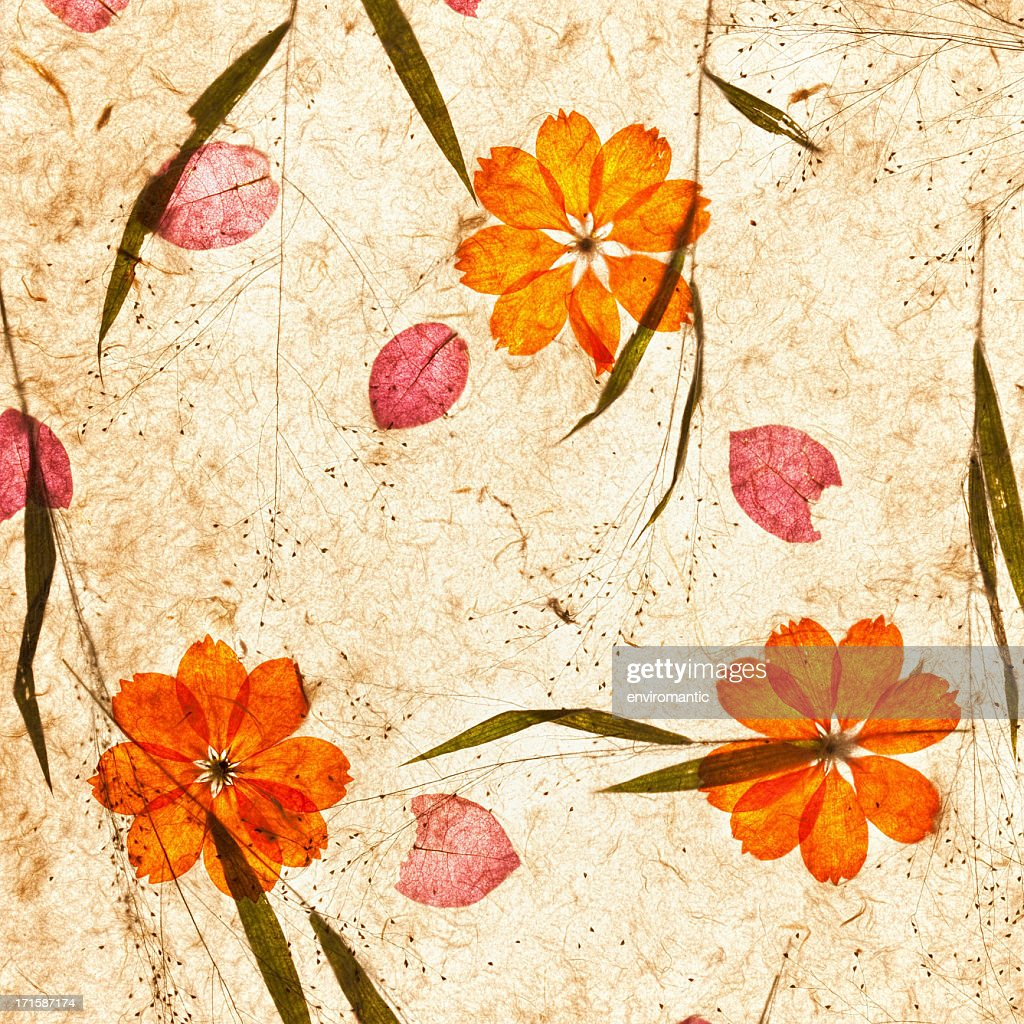 Handmade Recycled Flower And Leaf Paper Background Stock Photo