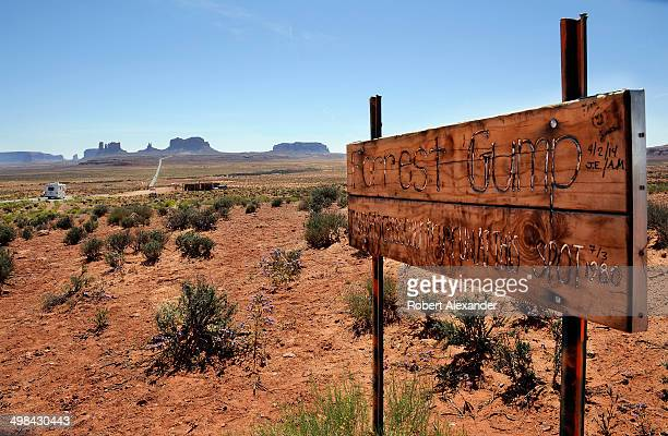 Handmade sign along a road leading into Monument Valley states that 'Forrest Gump ended his crosscountry run at this spot.' A scene from the 1994...
